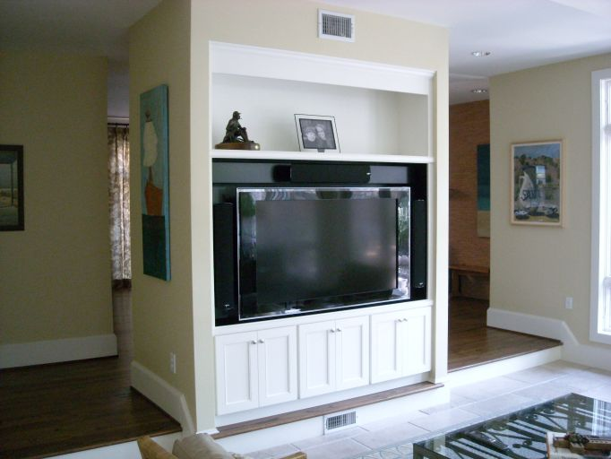 cabinet complete with speakers and television panel